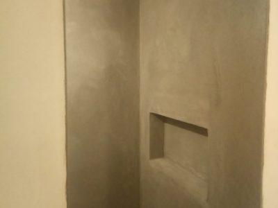 Douchemuur met Coprox, betonnen textuur